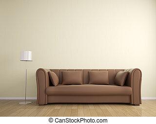 sofá, e, lâmpada, mobília, parede, bege, cor, interior