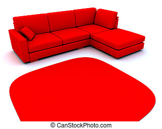 sofá, e, tapete, em, vermelho, tons, ligado, um, fundo branco