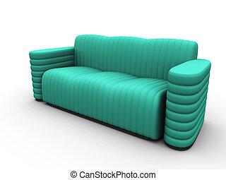 sofá, em, verde, tons, ligado, um, fundo branco
