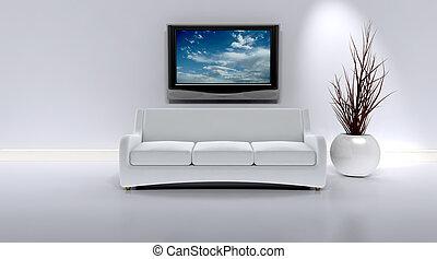 sofá, en, un, contemporáneo, interior