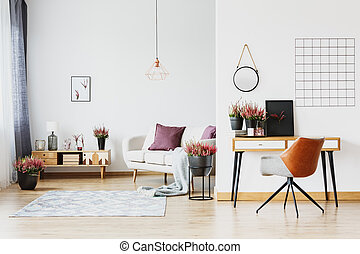 sofá, espaço aberto