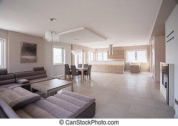 sofá, espaçoso, sala, camurça