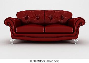 sofá, estúdio, render, 3d