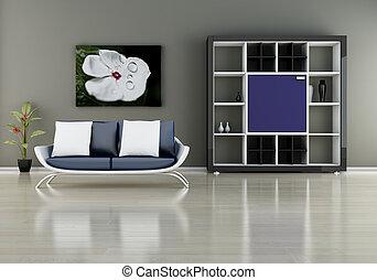 sofá, estante