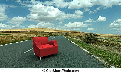 sofá, estrada vermelha, meio