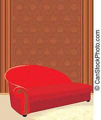sofá, felpudo, tapete vermelho