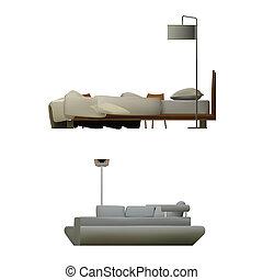 sofá, fondo blanco, cama