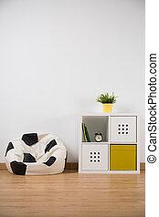 sofá, forma, habitación de pelota, muchacho
