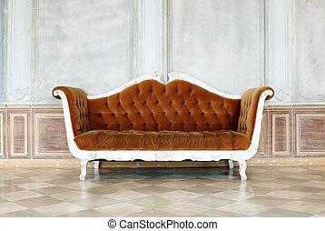 sofá, fundo, vindima