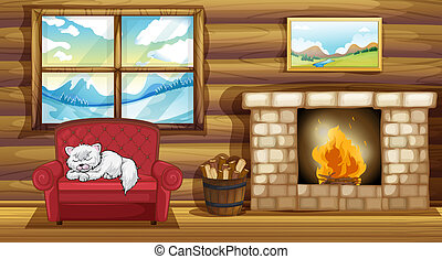 sofá, gato, chimenea, sueño