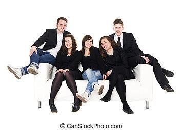 sofá, grupo, pessoas