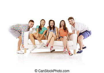 sofá, hombres, elevación