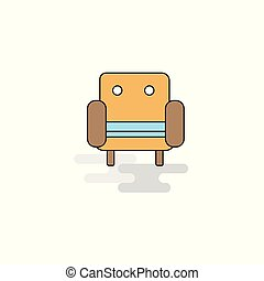 sofá, icon., vetorial, apartamento