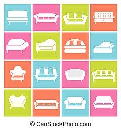 sofá, icons.