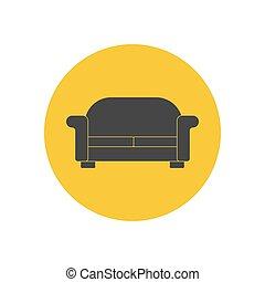 sofá, ilustração, silueta