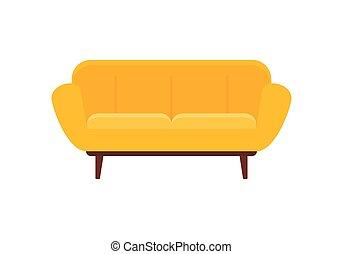 sofá, interior, apartamento, ícone, estilo, modernos