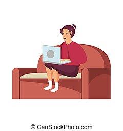 sofá, laptop, mulher, trabalhando