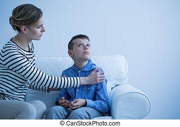 sofá, madre, hijo