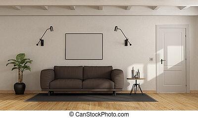 sofá marrom, em, um, branca, interior