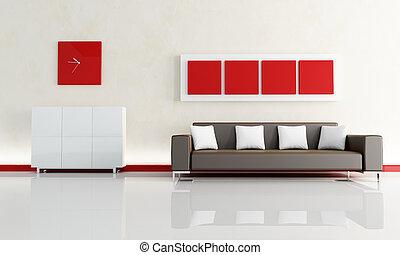 sofá marrom, quarto moderno, vivendo