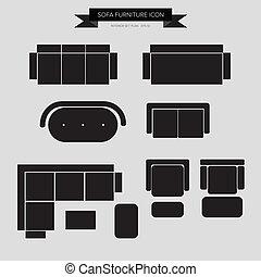 sofá, mobília, ícone