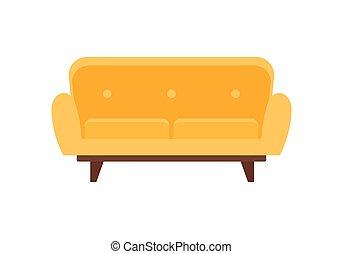 sofá, mobília, apartamento, amarela, ícone, estilo