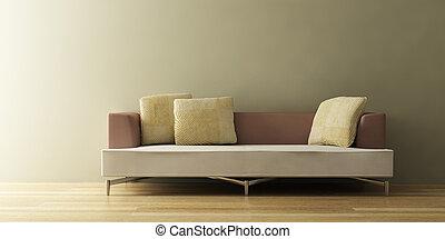 sofá, moderno, 3d