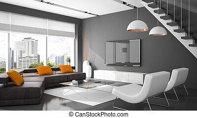 sofá, modernos, dois, fazendo, interior, poltronas, 3d