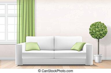 sofá, modernos, janela, verde, interior, cortina