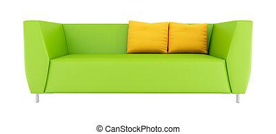 sofá, modernos, verde