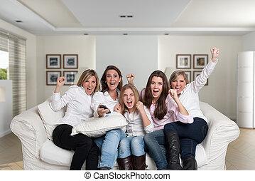 sofá, mujeres, aplausos