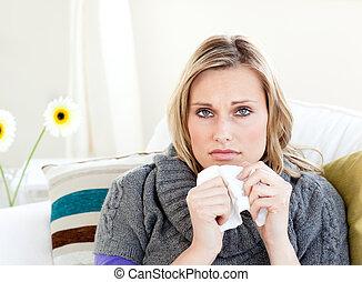 sofá, mulher, insalubre, sentando