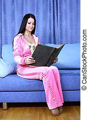 sofá, mulher, livro, vermelho, lar