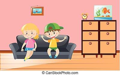 sofá, niños, dos, sentado