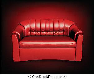 sofá, plano de fondo, negro rojo
