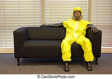 sofá, protetor, relaxante, máscara, profissional, roupa, ...
