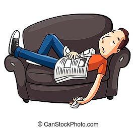 sofá, relaxe