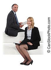 sofá, reunião, tendo, negócio, duo