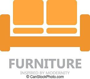 sofá, símbolo, logotipo, ícone, ou, mobília