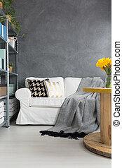 sofá, sala, cinzento