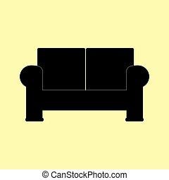 sofá, sinal., estilo, apartamento, ícone