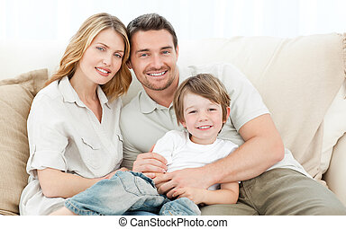 sofá, su, familia , feliz