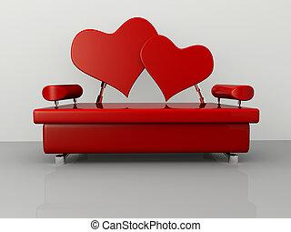 sofá, valentine
