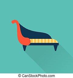 sofá, vector, icono