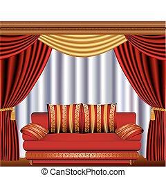 sofá, ventana, persianas, quiste