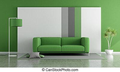 sofá verde, em, um, modernos, lounge