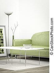 sofá verde, em, um, quarto branco