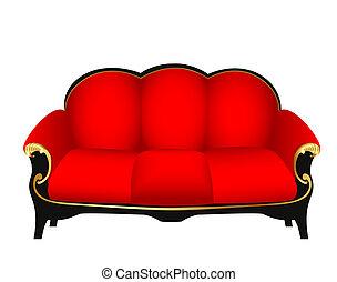 sofá, vermelho, esculpido, ouro, padrões
