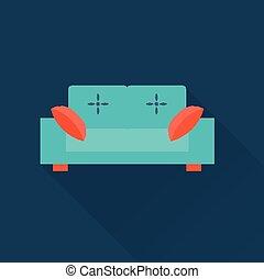sofá, vetorial, ícone