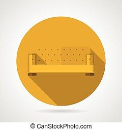 sofá, vetorial, apartamento, amarela, ícone